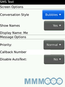 blackberry storm thread sms setting